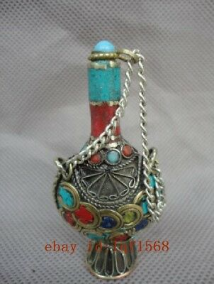 Collected China Tibet Copper Mosaic Jewelry Coral Turquoise Snuff bottles