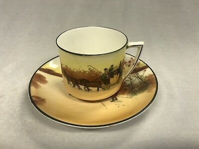 """Vintage Royal Doulton English Porcelain Cup And Saucer """"Coaching Days"""""""