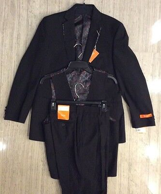 Tallia  3 pieces  Boys Jacket  Vest Pants  suit black size 20 R / 30.5 W