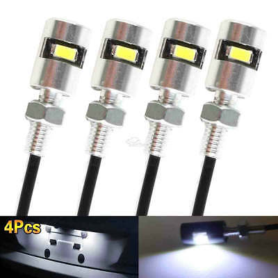 4x White LED SMD Motorcycle & Car License Plate Screw Bolt Light lamp bulb 12V