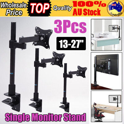 3Pcs Single HD LED Desk Mount Monitor Arm Stand  Bracket Holder LCD Screen TV
