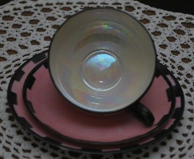 Handpainted small Nippon teacup with two saucers