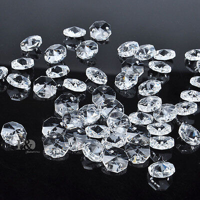 20XClear Crystal Glass Chandelier Part Prisms Octagonal Beads Decor 14M Hot MO