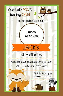 Personalised Fox/Woodland Birthday Party Invitation - You Print