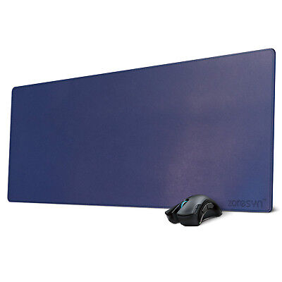 "Leather Mouse Pad Keyboard Mats Extended Mousepad Desk Pad 35.4""x15.7"" Blue"