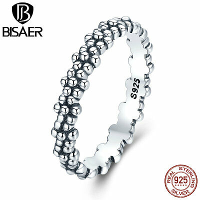 2017 Women 925 Sterling Silver Finger ring with Vintage Daisies Stackable Rings
