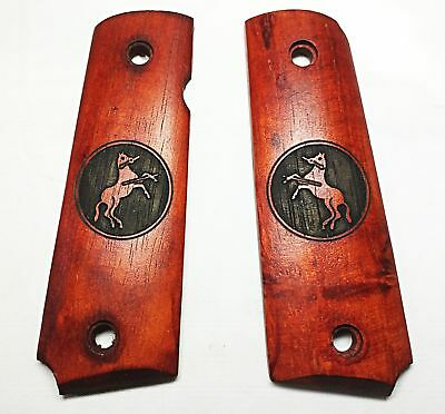 BELL Real Wood Oak 1911 Pistol Grip Cover w/CT Logo For GBB Airsoft (BELLPM23DM)
