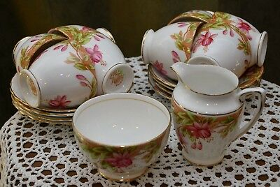 Set of eight Rosina teacups and saucers includes Cream and Sugar