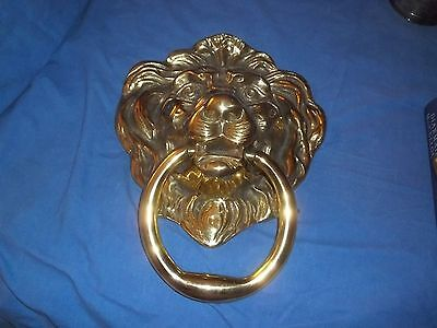 "Vtg Heavy Brass Lion Head Door Knocker Architecture Hardware 11"" Long x 8 1/2"" W"