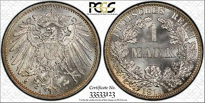 Germany Empire 1914-A 1 Mark, PCGS MS66+, golden peripheral toning