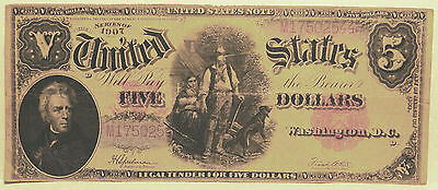 1907 $5.00 U.S. Note (Wood chopper Note) Red Seal Horse Blanket      (lot 133)
