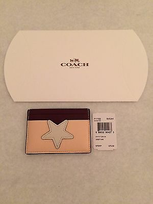 NWT COACH F11723 Flat Card Case Holder Crossgrain Leather W Star $75