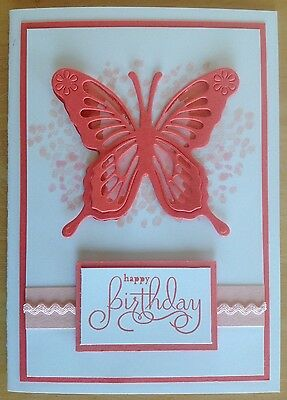 Handmade Birthday card: butterfly in watermelon with pink.