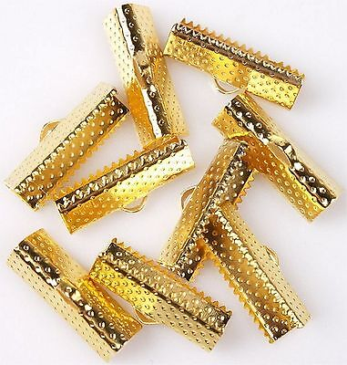 10 x 20mm Gold Ribbon Clamps End Crimps With Loop Jewellery Making Findings