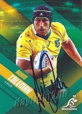 ✺Signed✺ 2017 WALLABIES Rugby Union Card Card ADAM COLEMAN