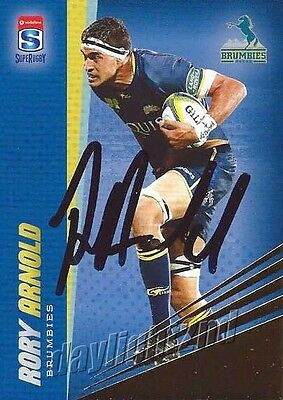 ✺Signed✺ 2017 ACT BRUMBIES Rugby Union Card RORY ARNOLD Gold