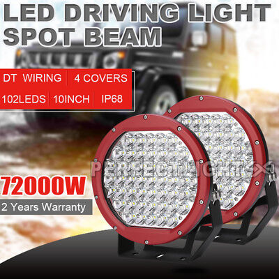 Pair 10INCH LED Driving Light Cree Red Round Spotlights Bar Offroad ATV 4x4 &hid