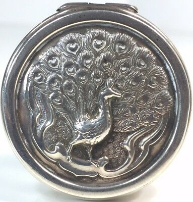 Antique Miniature Sterling Silver figural peacock snuff pill trinket box.