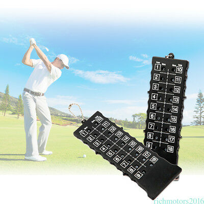 18 Holes Golf Stroke Putt Score Card Counter Indicator with Key Chain Black wz03