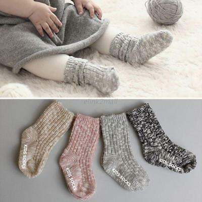 Toddler Kids Baby Knit Socks Fall Winter Warm Calf Socks Anti-slip Knitted Socks