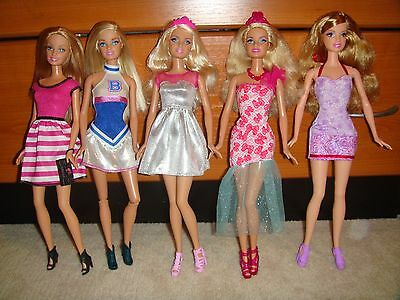 Barbie Doll Lot Of 5 Dolls Fully Clothed With Shoes Excellent Condition Lot 55