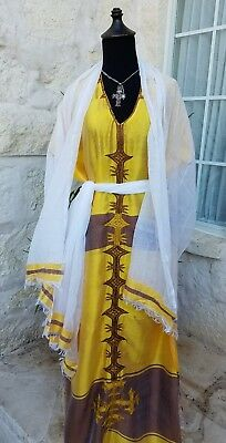 Ethiopian coffee dress saba material hand embroide. 100% cotton one sz 3 pieces