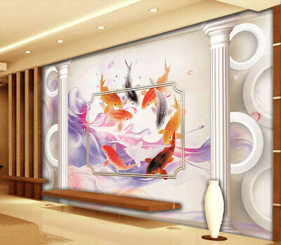 Nine Fishes 3D Full Wall Mural Photo Wallpaper Printing Home Kids Decoration