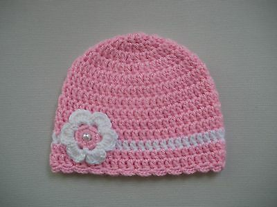 Pink Handmade Flower Beanie - Baby Girl - Photo Photography Prop - Newborn