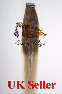 8A* 18'' Tape Skin Golden Brown into Blonde Russian Remy Human Hair Extensions