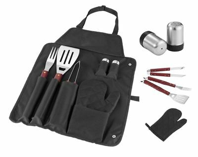 New 7Pc Stainless Steel Bbq Tool Set Gourmet Utensil Cutlery Bbq Apron Camping