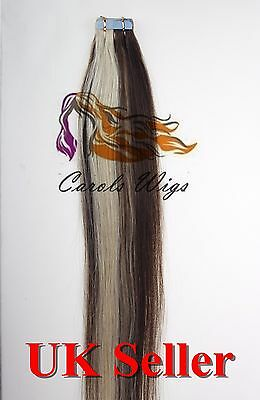 8A* Tape Skin 18'' Medium Brown mix Blonde Russian Remy Human Hair Extensions UK