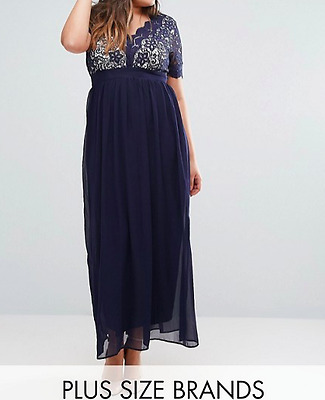 Club L Plus Maxi With Scallop Lace Top Navy - UK 22 rrp £69.99