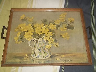VINTAGE WOODEN TRAY. GLAZED,FLORAL OIL PAINTING ON BOARD by M.E.ODDIE Circa 1930