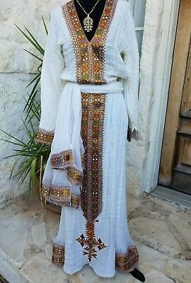 Ethiopian traditional dress, hand spun hand woven 100% cotton w Lining. 3 piece