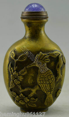 Collectible Decorated Old Handwork Copper Carved Bird On Tree Snuff Bottle