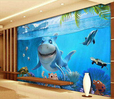 Cute Sea World 3D Full Wall Mural Photo Wallpaper Printing Home Kids Decoration
