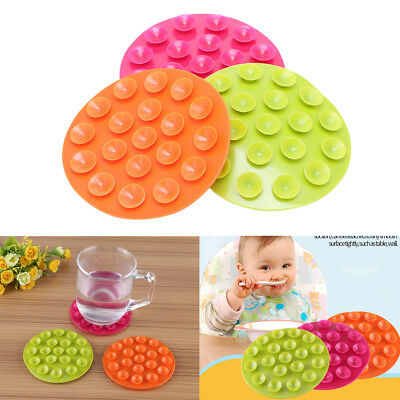 "4""Baby Kids Magic Suction Mat Double-sided Suckers Anti-slip Plate Bowl Placemat"
