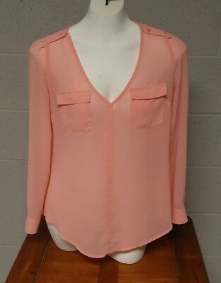 Junior's Long Sleeve Pink Blouse by CANDIE'S ~~ Size Small