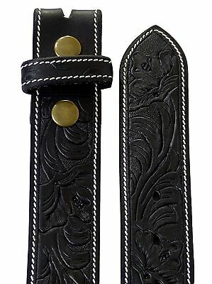 Thor Equine Western Belt Blumenmuster Tooled Without Buckle Cowboy Cowgirl Black