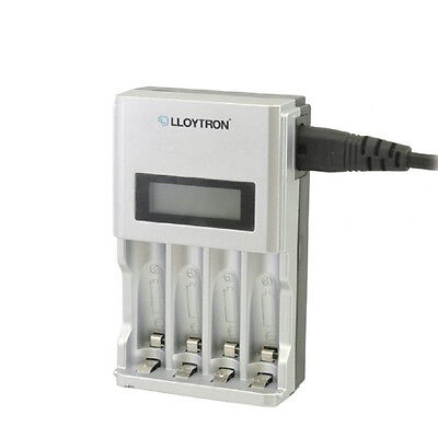 Lloytron AA or AAA LCD Mains Battery Charger Ni-Mh/Ni-Cd Rechargeable Batteries