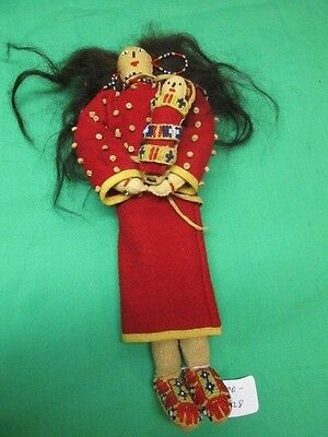Vintage Native American Beaded Leather Doll with Baby NICE