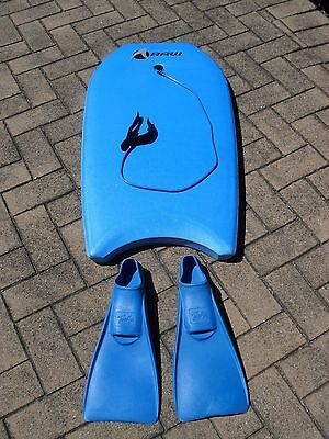 Raw - Blue Boogie Board Surf Beach Bodyboard With Fins & Ankle Strap