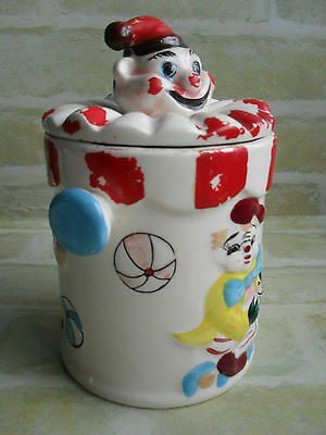 Stunning Original Mid 50s Antique Hand Painted Clowns Ceramic Cookie Jar- Japan