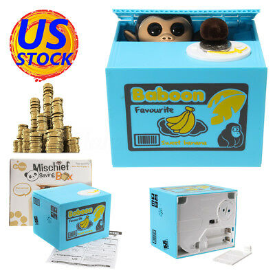 Monkey Eating Saving Coin Money Box Automatic Electronic Piggy Bank Kids Gift