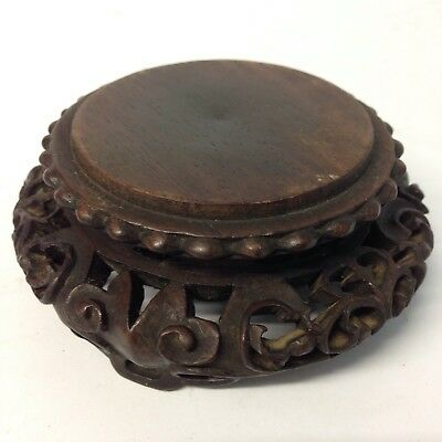 Antique Chinese Finely Carved Hardwood Vase / Bowl Stand