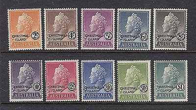 CHRISTMAS ISLAND: 1958 Queen's Heads definitives set of 10 SG 1/10, MUH.