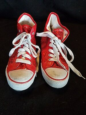 Womens/Girls Red Sequined High top Tap Shoes
