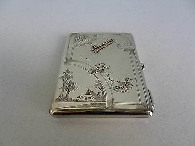 Antique Russian Cigarette case silver 84 sample gold sapphire