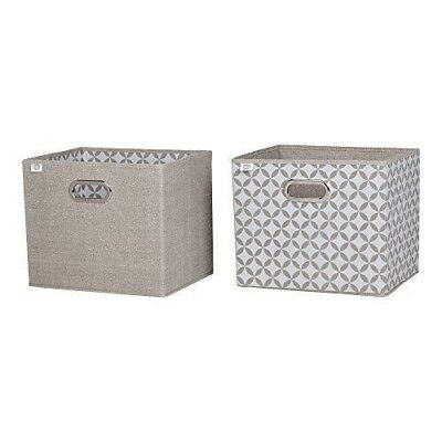 South Shore Furniture Storit Chambray and Patterned Fabric Storage Baskets (2 Pa