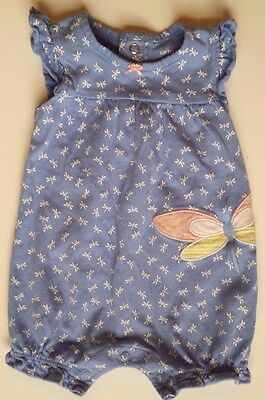 Carter's brand infant baby girl size 3 months blue dragonfly romper bodysuit